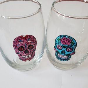 SUGAR SKULL 15oz stemless wine glasses NWT